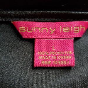 Sunny Leigh Tops - Black satin scoopneck blouse, ruffled, Sunny Leigh